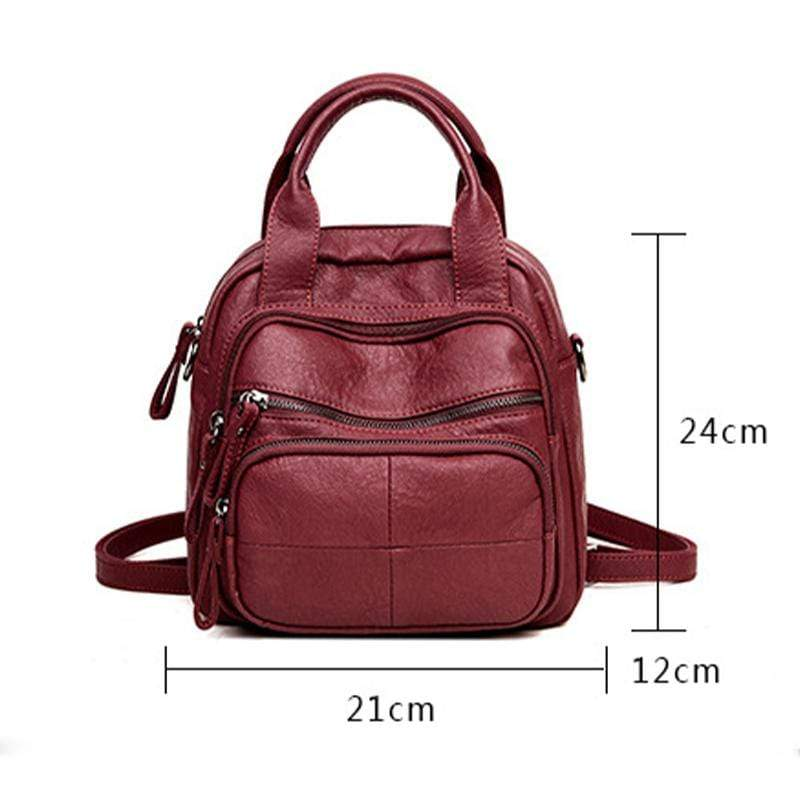 Obangbag Women Vintage Simple Multifunction Roomy Lightweight Soft Leather Backpack Shoulder Bag Handbag