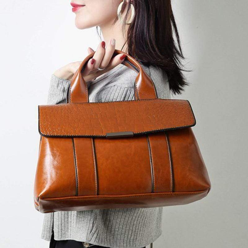 Obangbag Women Vintage Simple Professional Roomy Multifunction Leather Handbag Crossbody Bag Briefcase