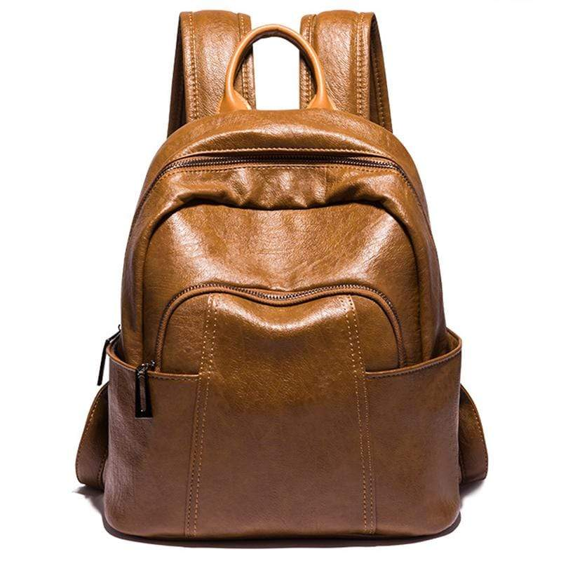 Obangbag Women Vintage Stylish Large Capacity Lightweight Oil Wax Leather Backpack Bookbag