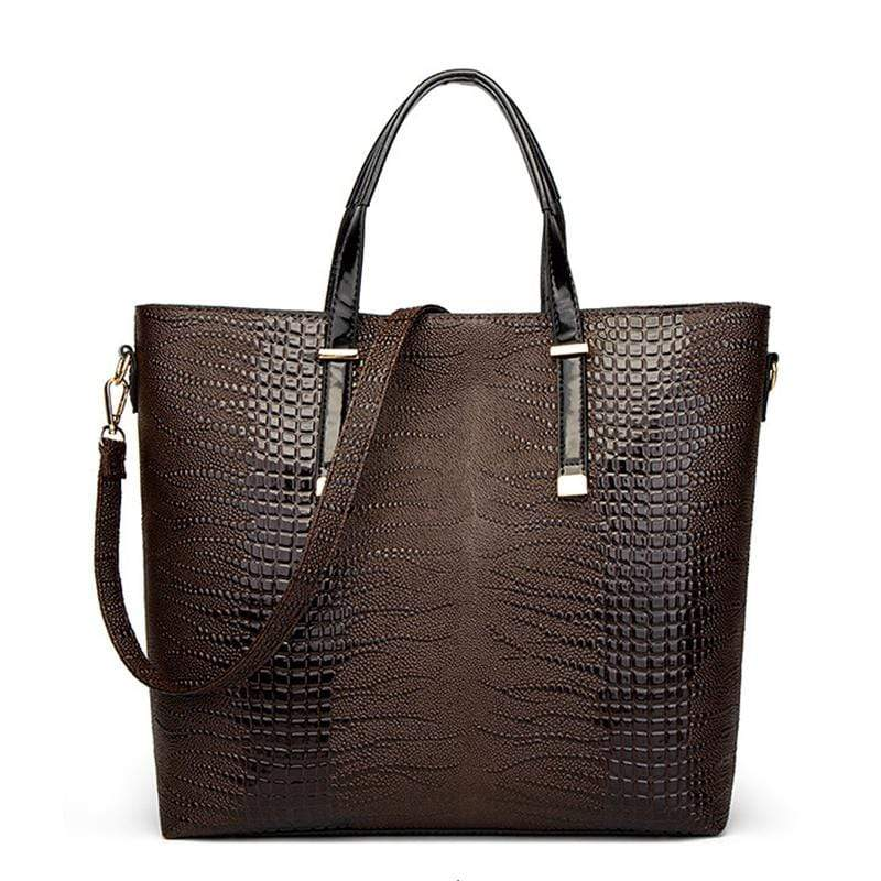 Obangbag Women Vintage Stylish Large Capacity Multifuction Crocodile Pattern Leather Bag Set Crossbody Bag Purse