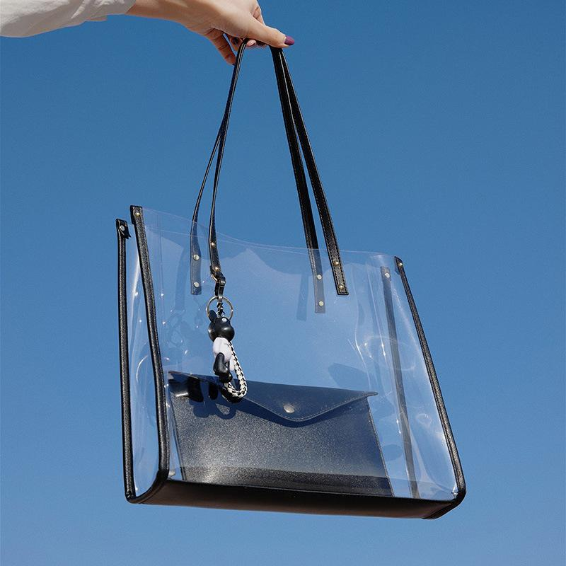Obangbag Women Vintage Summer Street Clear Transparent Plastic Tote Bag Shoulder Bag Handbag Beach Bag