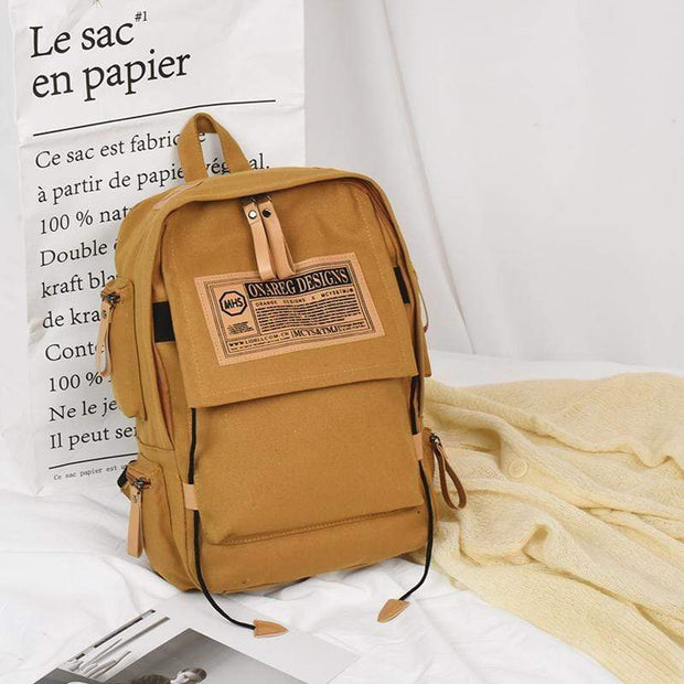 Obangbag Yellow Canvas Stitching Multi Pocket Unisex Work Backpack