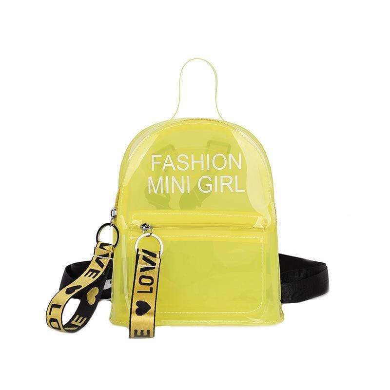 Obangbag Yellow Letter Printed Unisex Chic Casual Cute Summer Clear Transparent Plastic Backpack for Children