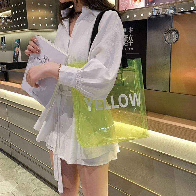 Obangbag Yellow Women Chic Big Large Capacity See Through Letter Printed Clear Transparent Plastic Shoulder Bag Handbag