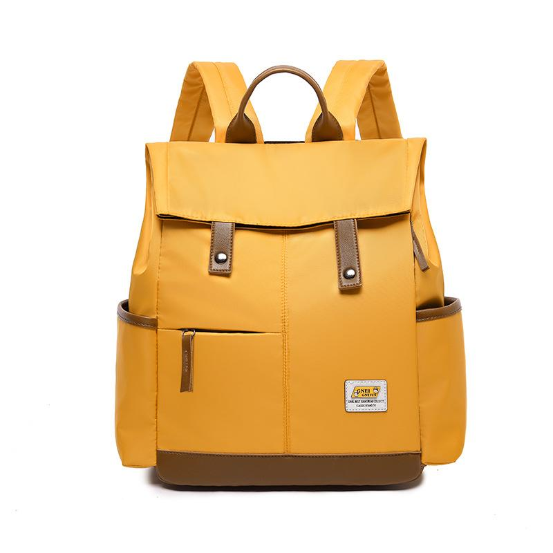 Obangbag Yellow Women Chic Foldable Large Capacity Multifunction Oxford Backpack Bookbag for School