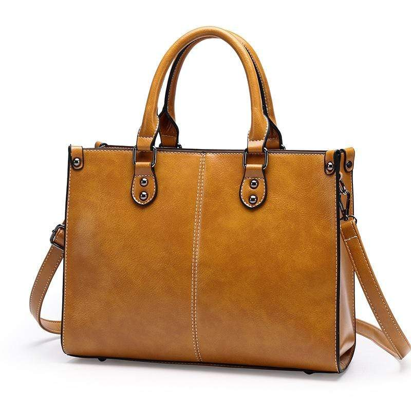 Obangbag Yellow Women Chic Stylish Professional Large Capacity Multi Pockets Oil Wax Leather Handbag Shoulder Bag Laptop Bag for Work