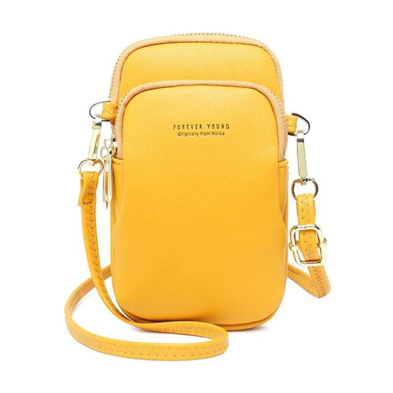 Obangbag Yellow Women Cute Chic Roomy Lightweight Portable Multifunction Leather Phone Bag Crossbody Bag