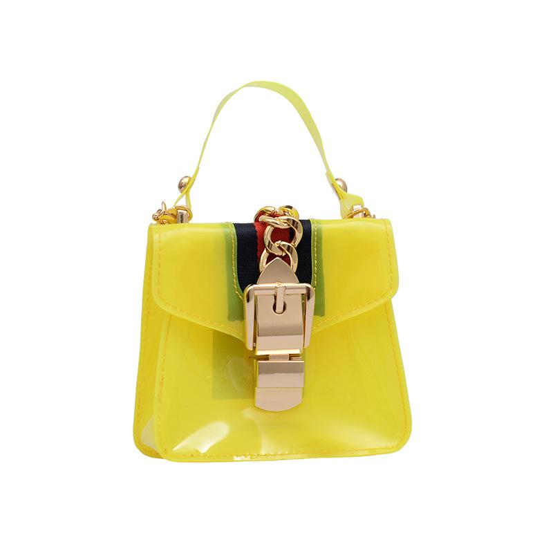 Obangbag Yellow Women Cute Girl Street Mini Transparent Plastic Clear Handbag Crossbady Bag Beach Bag