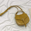 Obangbag Yellow Women Retro Vintage Mini Leather Round Shoulder Bag Crossbag Handbag