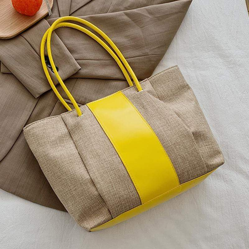 Obangbag Yellow Women Simple Daily Large Capacity Lightweight Linen Tote Bag Handbag