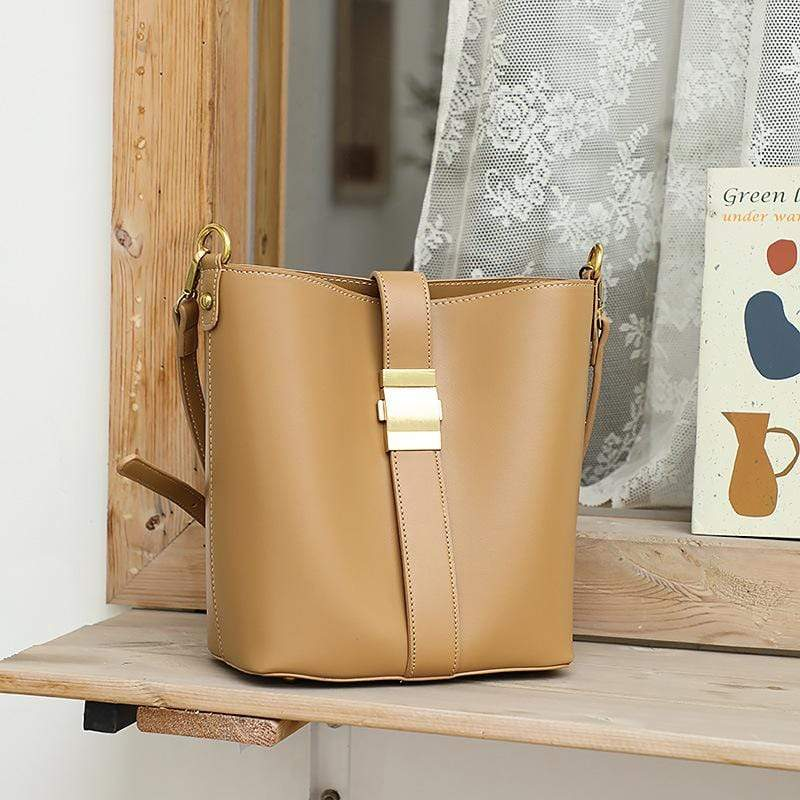 Obangbag Yellow Women Simple Vintage Roomy Leather Bucket Bag Bag Set Shoulder Bag for Work