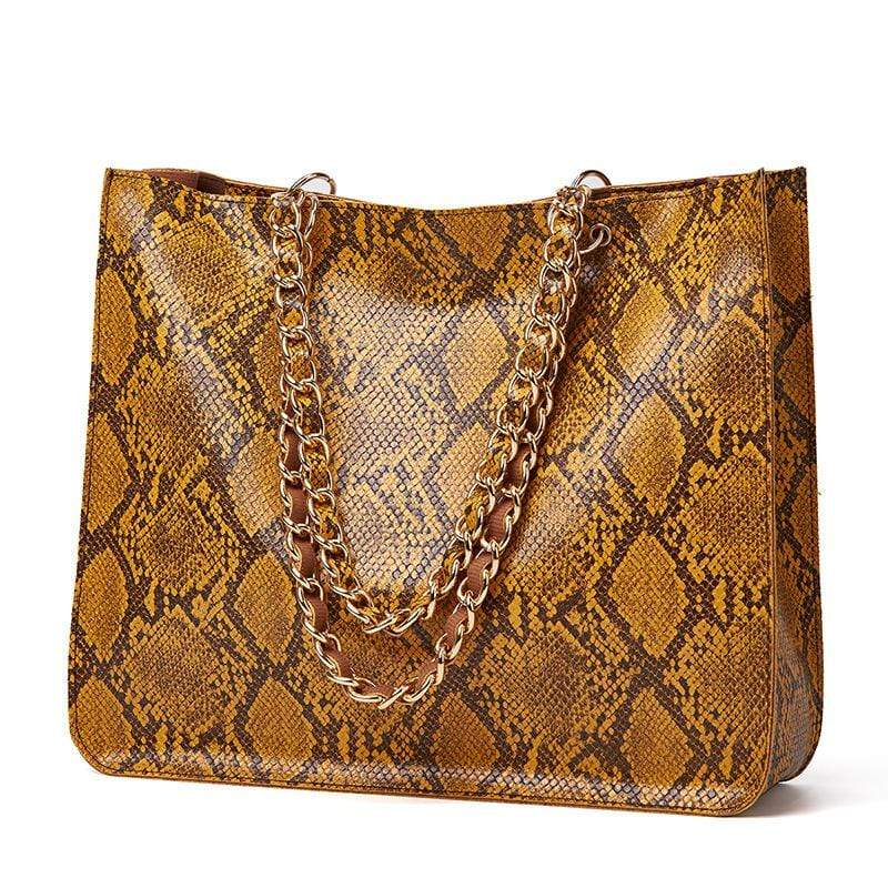 Obangbag Yellow Women Vintage Large Capacity Lightweight Multifunction Snake Skin Pattern Leather Handbag Shoulder Bag Chain Bag
