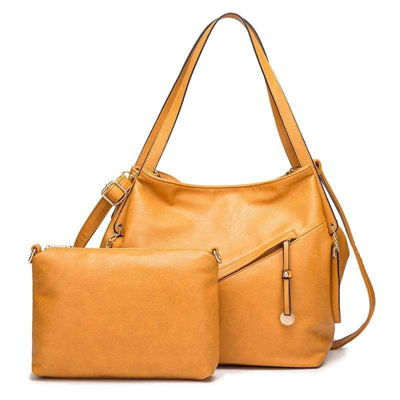Obangbag Yellow Women Vintage Simple Multi Pockets Anti-theft Soft Leather Bag Set Shoulder Bag Crossbody Bag