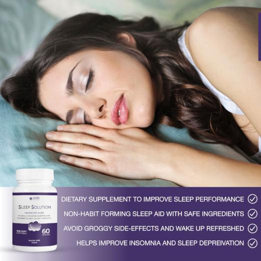 Dietary supplement to help improve sleep performance. Non-habit forming sleep aid with safe ingredients. Avoid groggy side effects and wake up refreshed. Helps improve insomnia and sleep deprivation