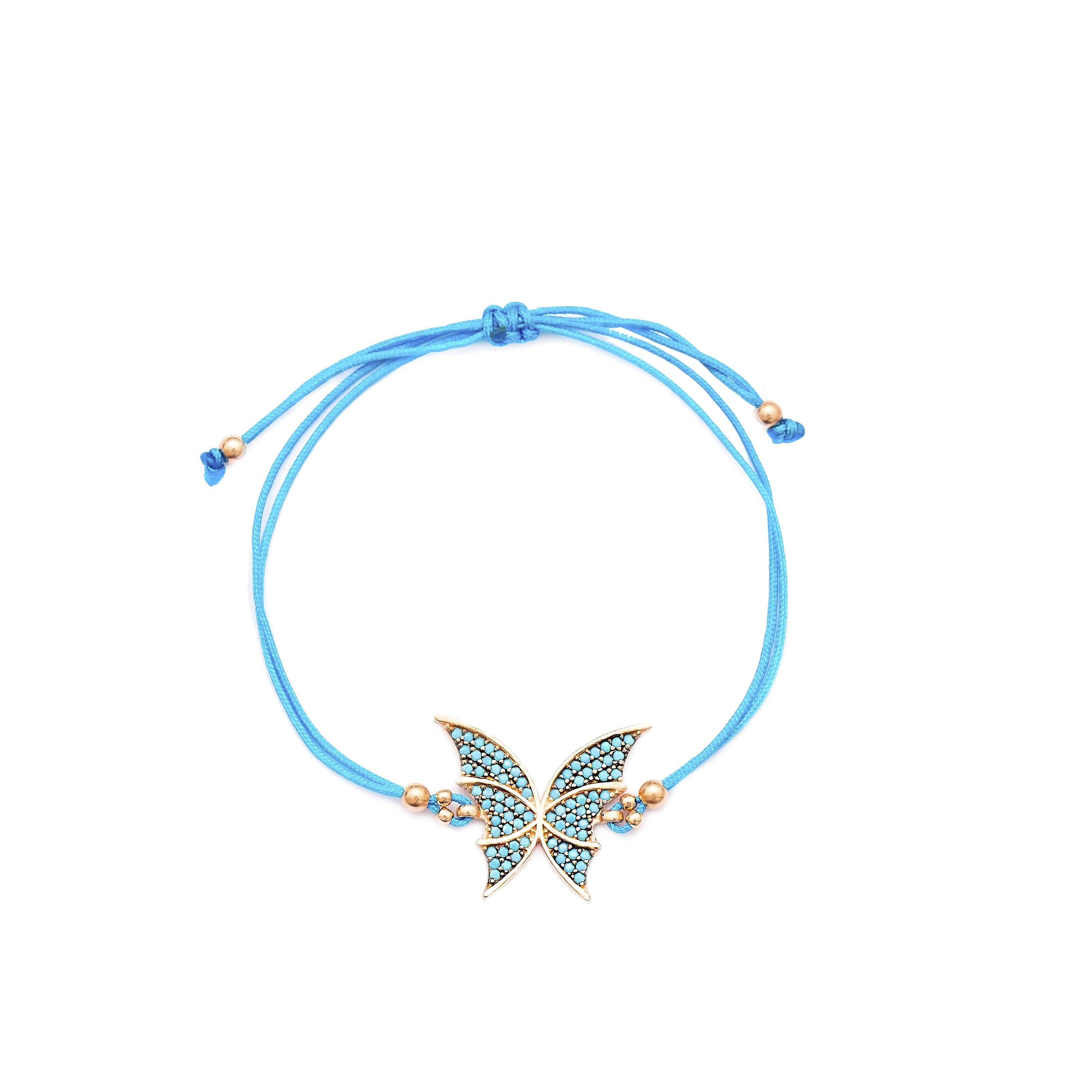 Butterfly Design Knitting Adjustable Silver Bracelet