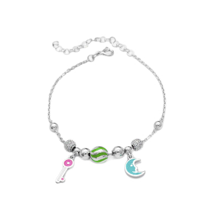 Handcrafted Sterling Silver Moon & Key Charm Bracelet