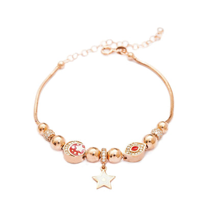 Rose Gold Plated Silver Starry Charm Bracelet