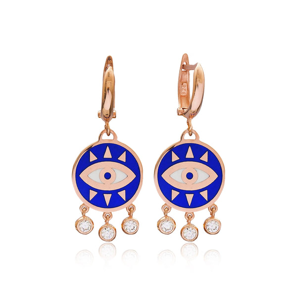 Enamel Evil Eye Dangle hoop style Silver Earring