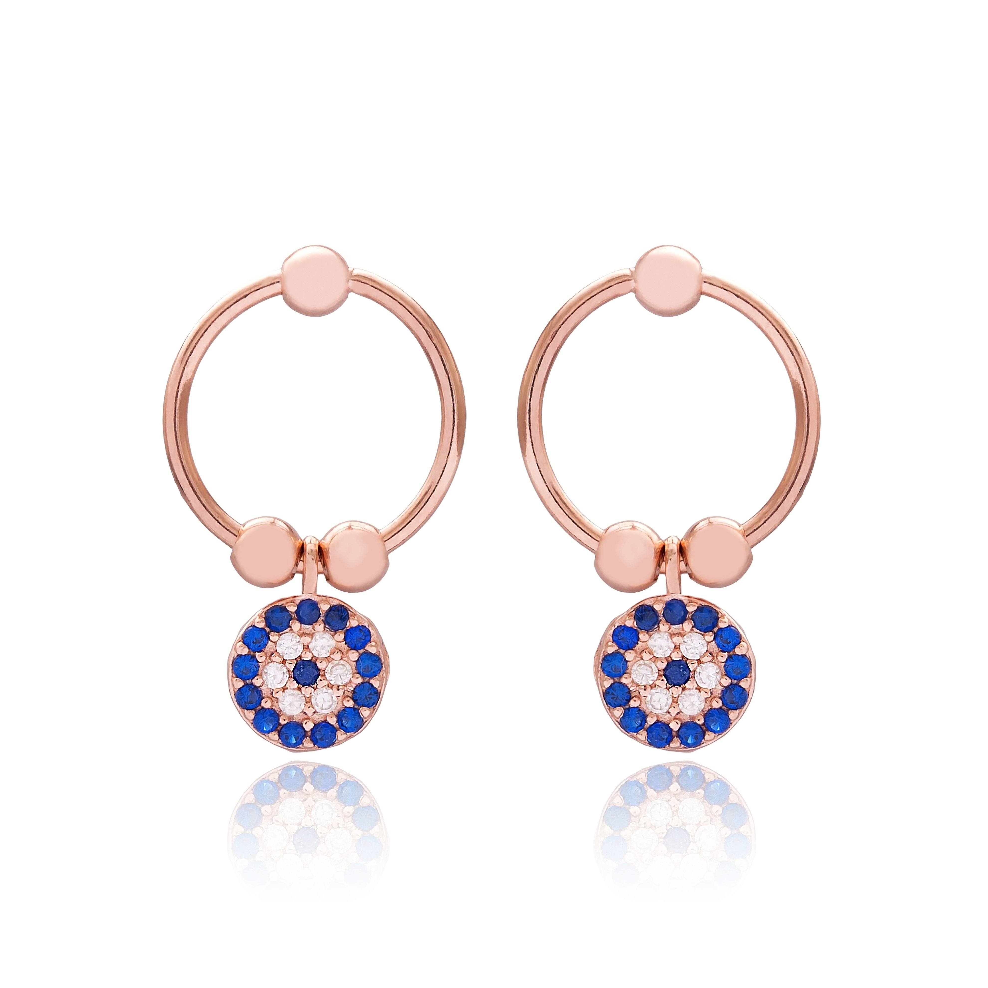 Rose Gold Zircon Evil Eye Silver Earrings