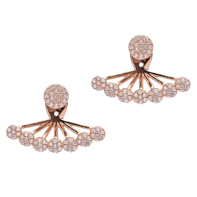 Handcraft Double Round Zircon Sterling Silver Ear Cuff Earring