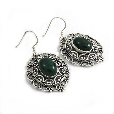 Authentic Handcrafted Malachite Gemstone 925 Silver Earring
