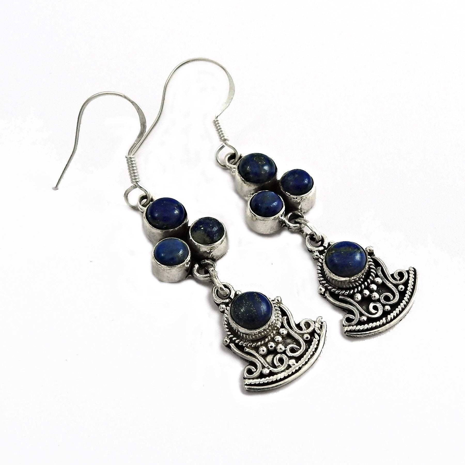 Authentic Lapis lazuli Gemstone 925 Sterling Silver Earring