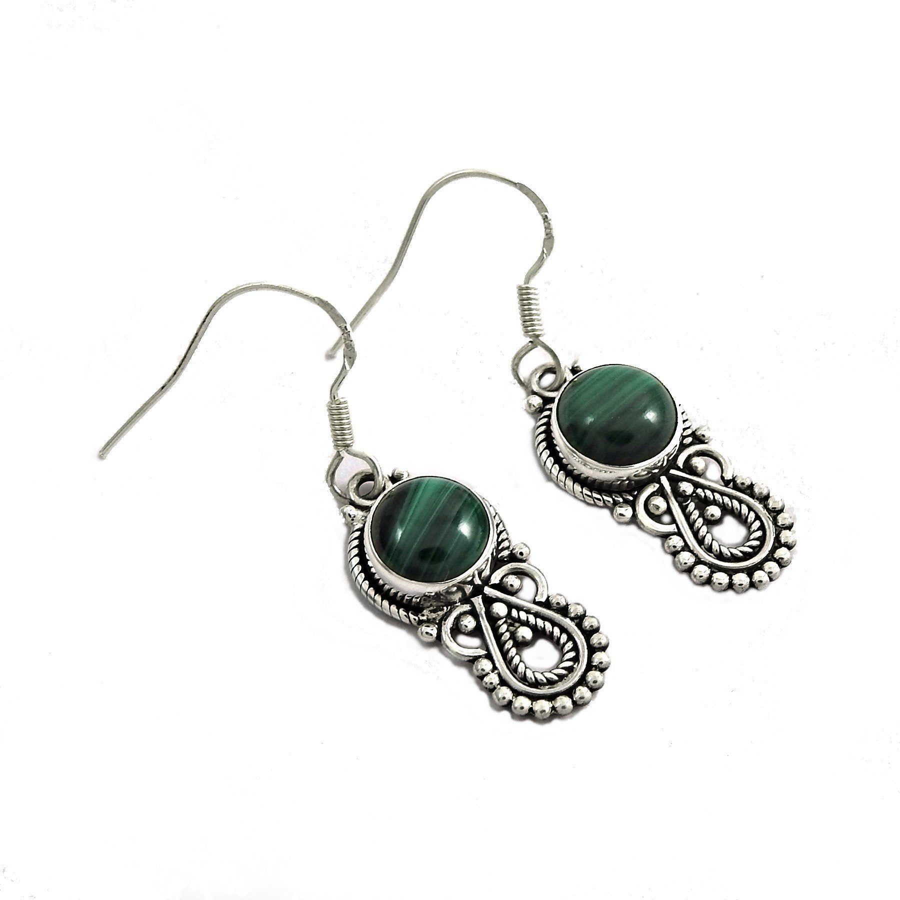 Authentic Handcrafted Sterling Silver Malachite Gemstone Earrings