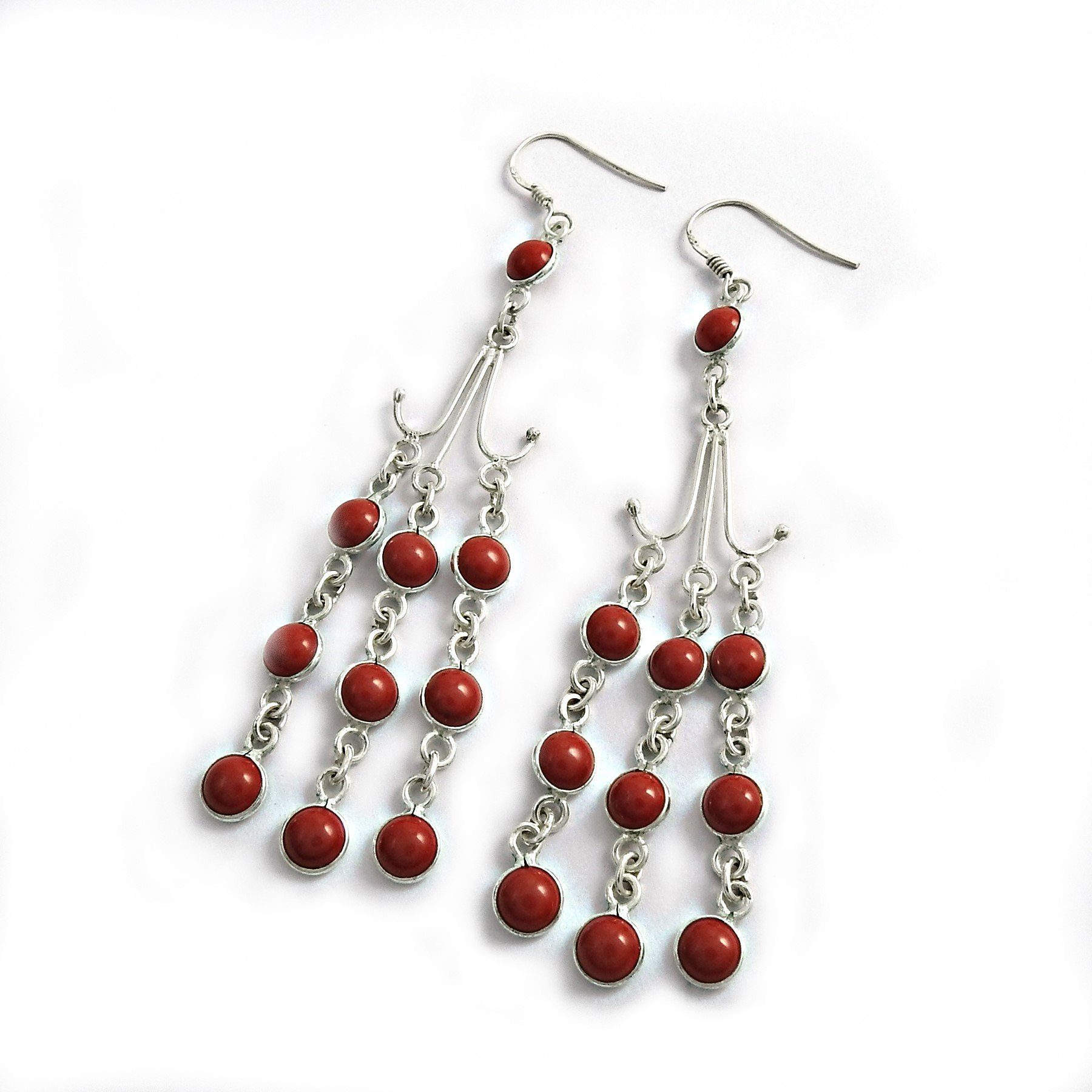 Authentic Handcrafted Coral Gemstone Silver Earring