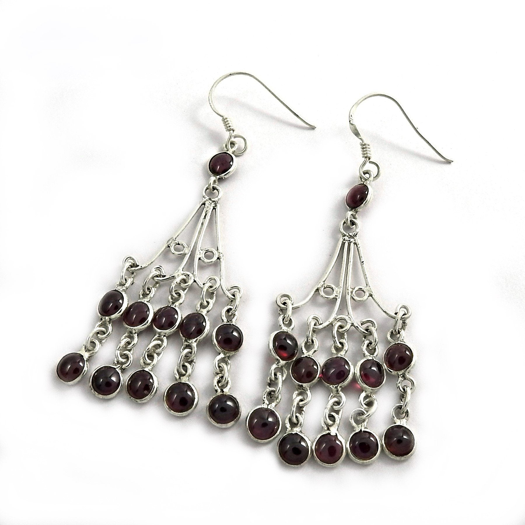 Authentic Handcrafted Garnet Gemstone Silver Earring