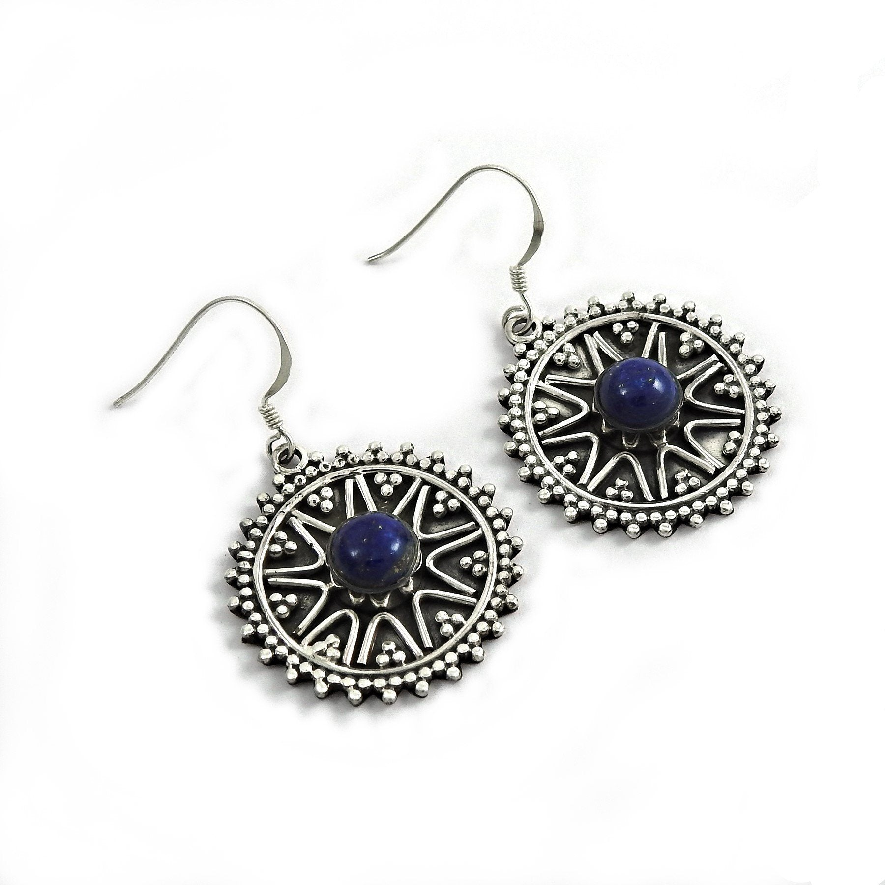 Authentic African Handcrafted Lapis Gemstone Silver Earring