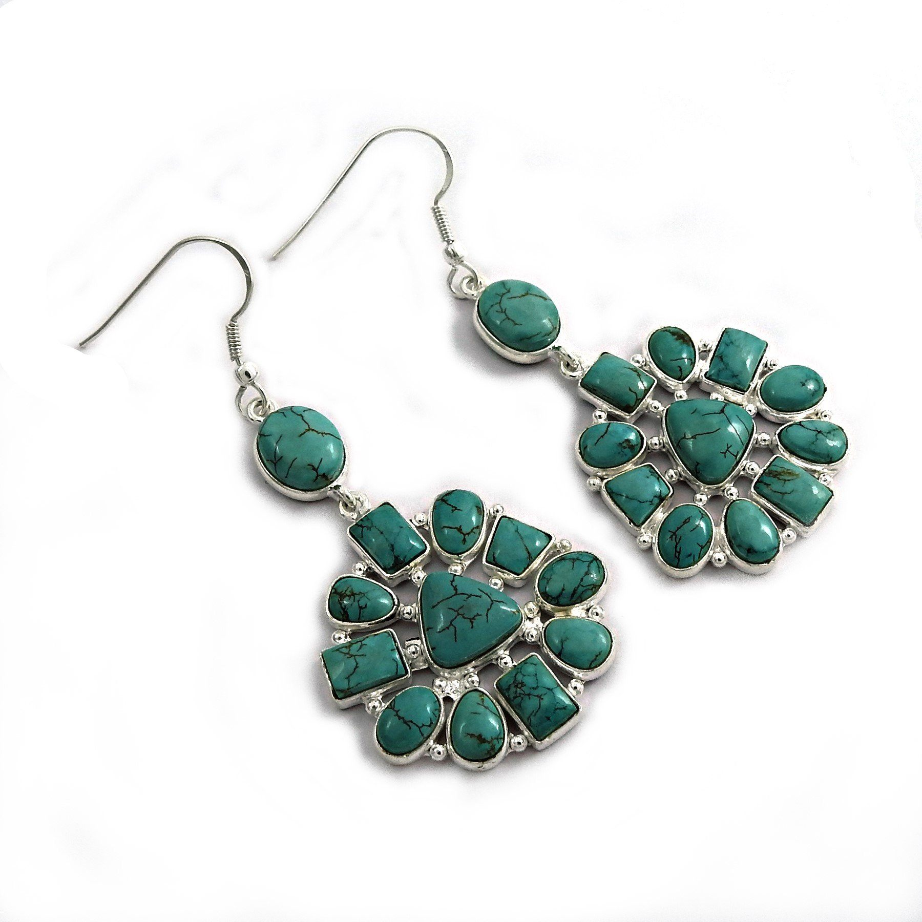 Handy 925 Sterling Silver Turquoise Gemstone Earring Ethnic Jewelry