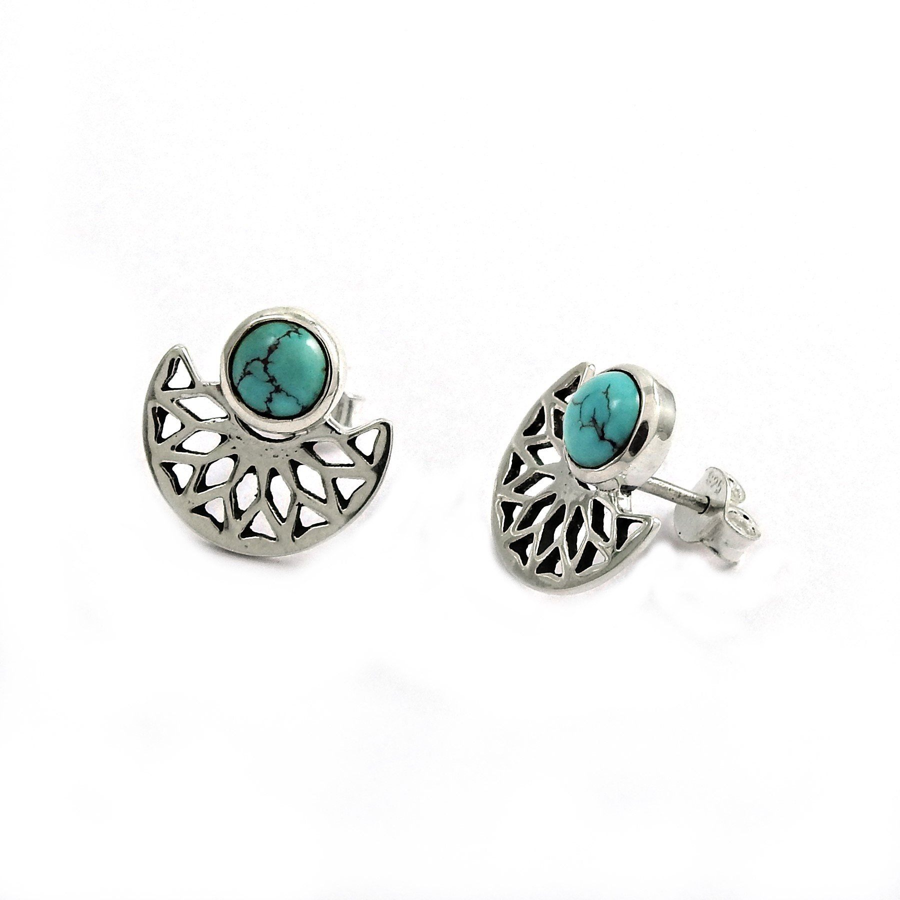 Authentic Handcrafted Turquoise Gemstone Silver Earring