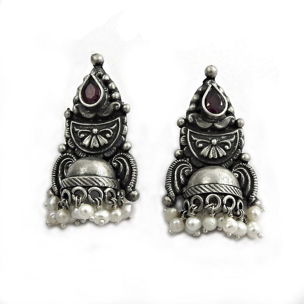 Authentic Handcrafted Pearl Garnet Gemstone Oxidized Silver Earring