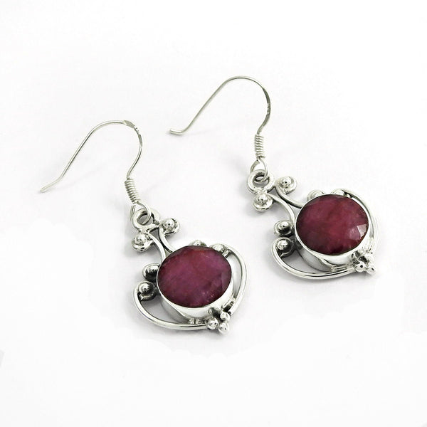 Authentic Handcrafted Ruby Gemstone 925 Silver Earring