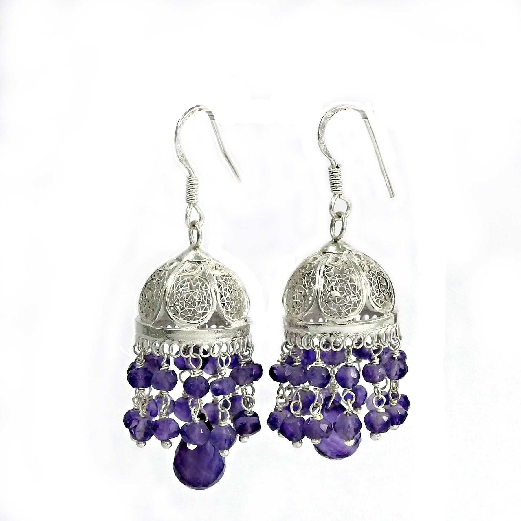 Authentic Handcrafted Miska Amethyst Silver Drop Earring
