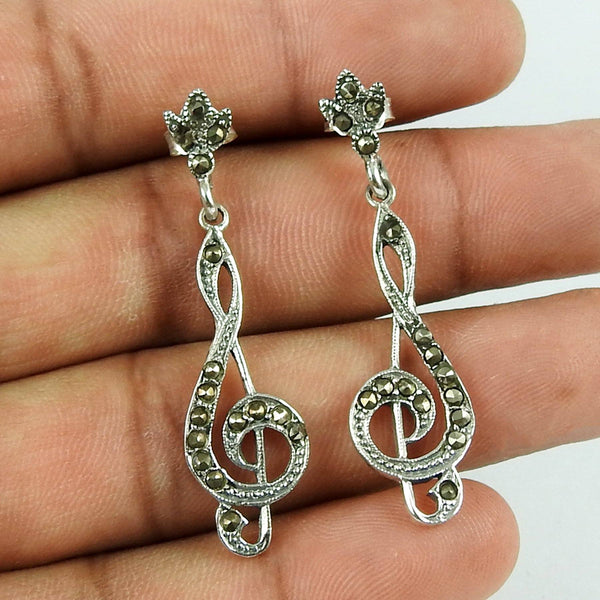 Musical Note Handcrafted Authentic Sterling Silver Earring