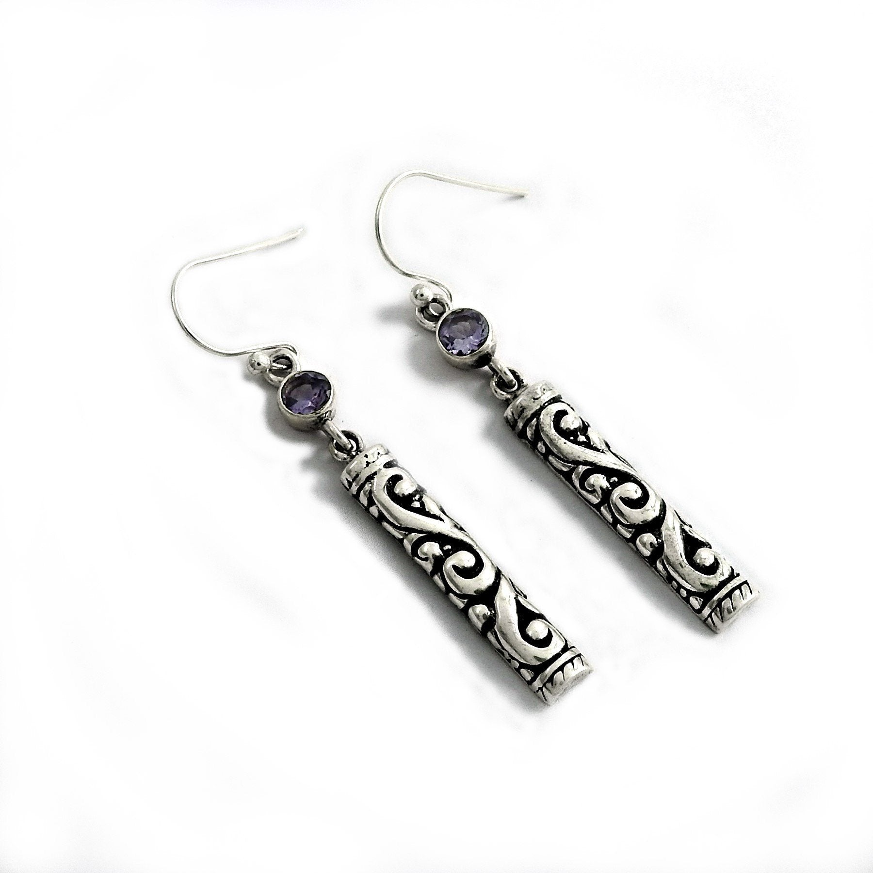 Authentic Handcrafted Color Zircon Sterling Silver Earrings