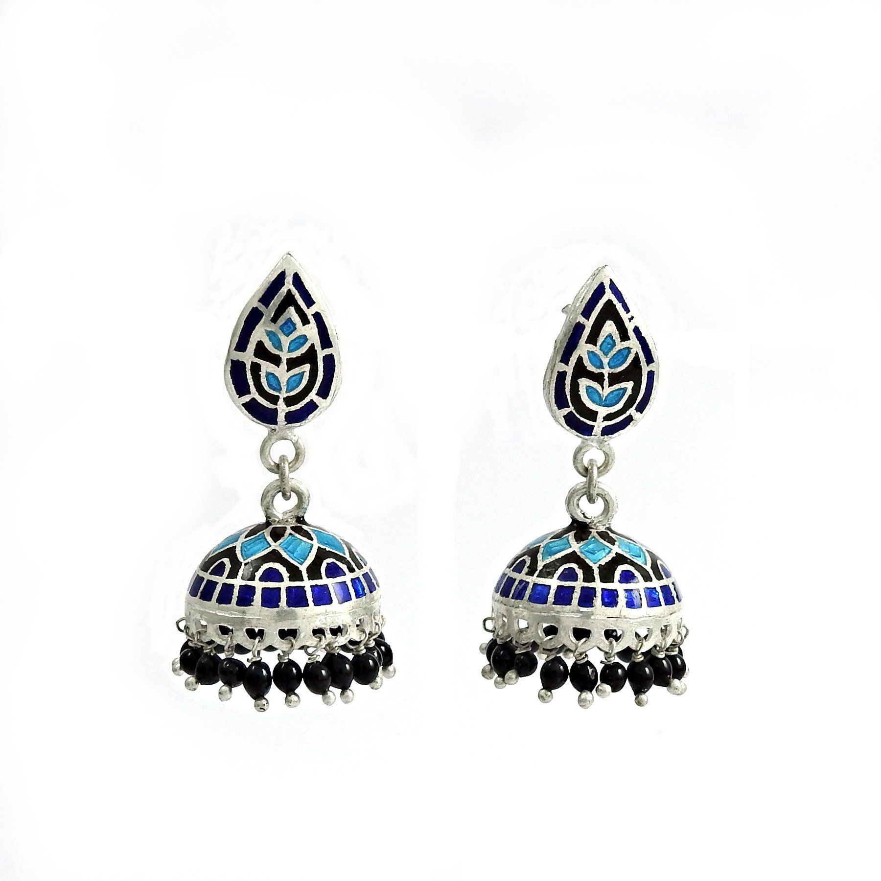 Antique Look Enamel 925 Sterling Silver Earring Jewelry