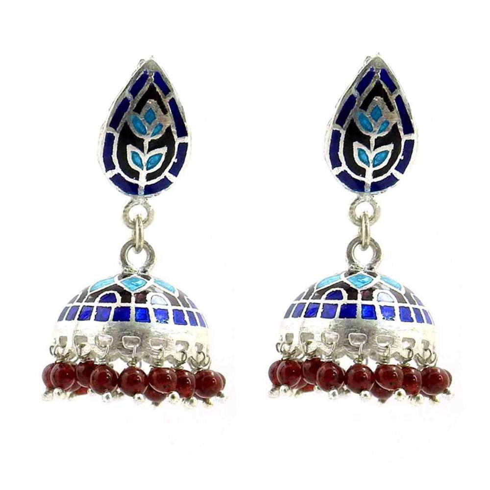Antique Look Ruby & Enamel 925 Sterling Silver Earring Jewelry