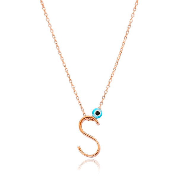 Letter S Alphabet Design Sterling Silver Necklace