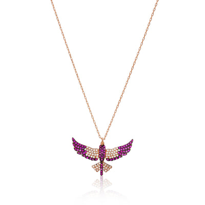 Phoenix Bird Ruby Silver Necklace Inspirational Jewelry