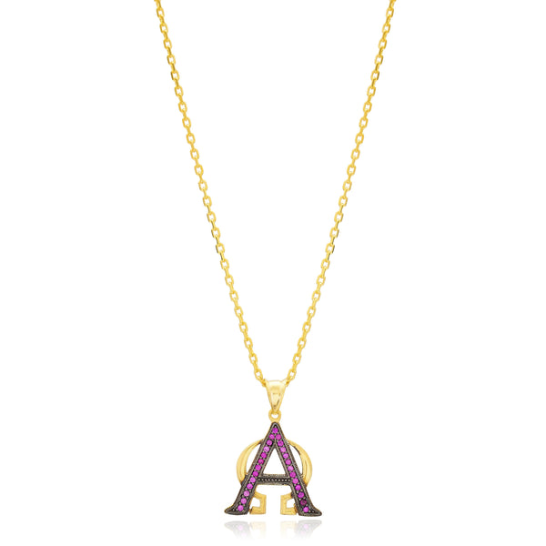 Alpha Omega Ruby Pave Sterling Silver Necklace