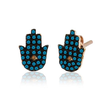 Turquoise Hamsa Hands Handcrafted Silver Earrings