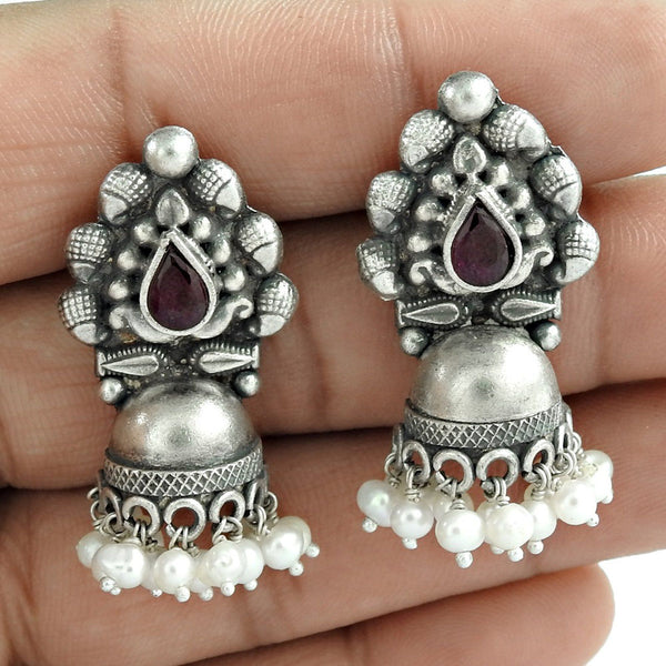 Authentic Pearl Garnet Gemstone Oxidized Sterling Silver Earring