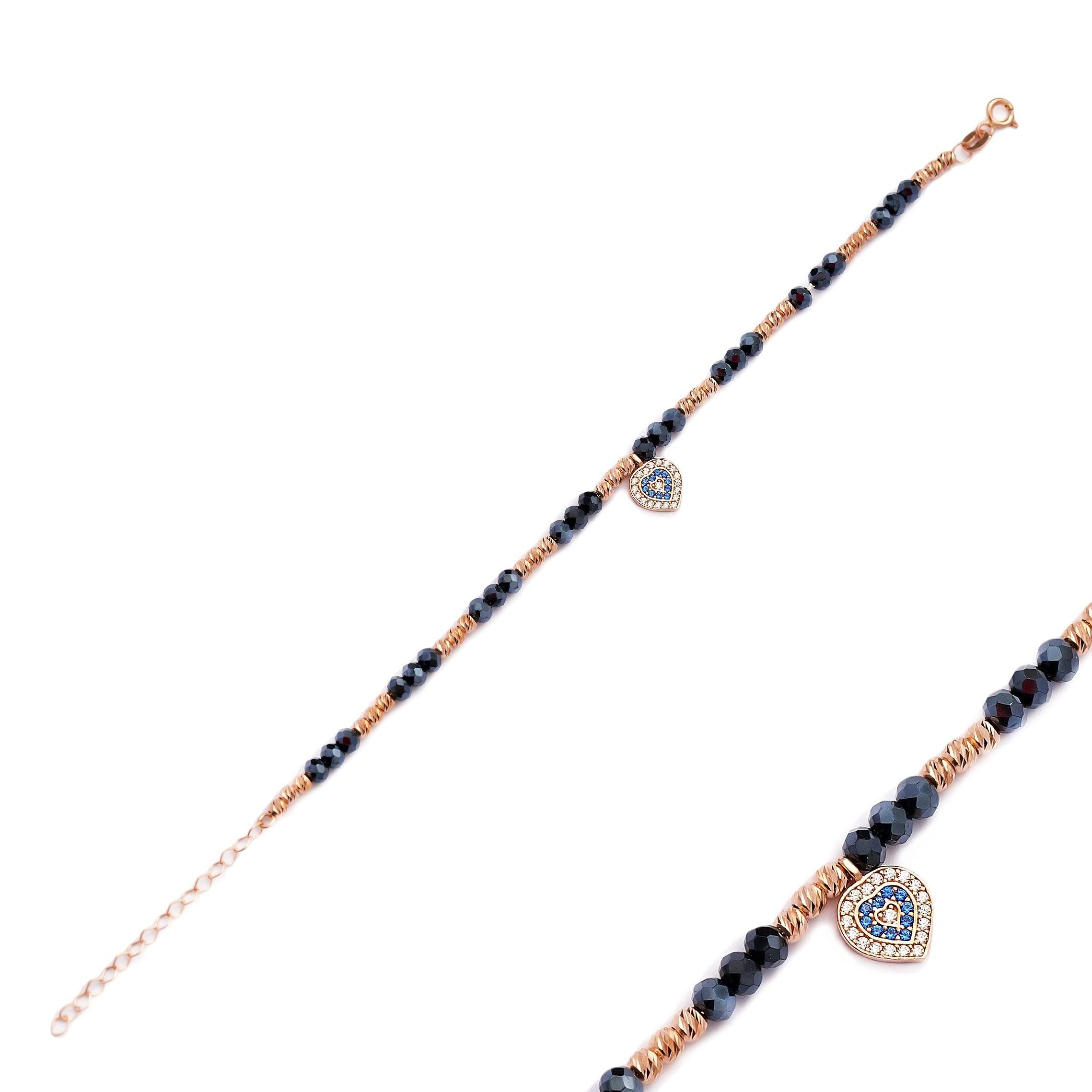 Silver Beaded Handcrafted Bracelet | Hearth Design Rose Gold Silver Bracelet