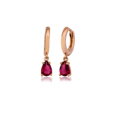 Stunning Red Stone Design Handcrafted 925 Silver Earring