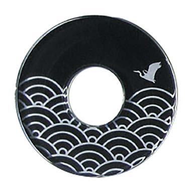 Deluxe Decorated Plastic Tsuba - Black Namichidori