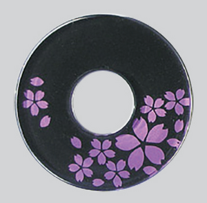 Deluxe Decorated Plastic Tsuba - Pink/Black Sakura