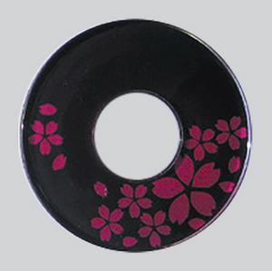 Deluxe Decorated Plastic Tsuba - Deep Pink/Wine Sakura