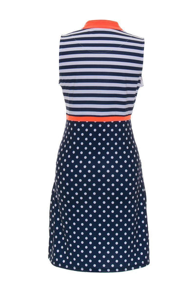 Allie Burke Polka Navy Stripe Orange Print Golf Dress